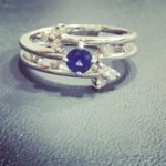 18 carat white gold blue sapphire and diamond ring whitegoldhellip