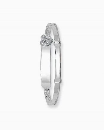 9ct White Gold Baby Expandable Identity Bangle