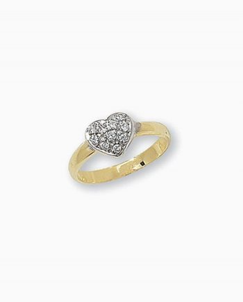 9ct Gold Children's CZ Heart Ring