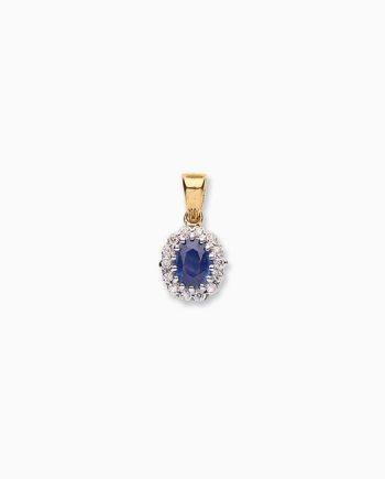 9ct Gold Diamond & Sapphire Pendant