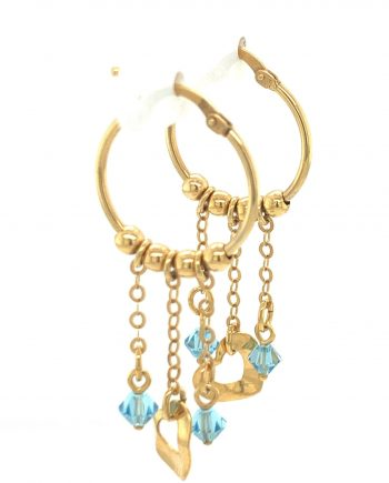 9ct Gold hoop earrings with Blue Topaz