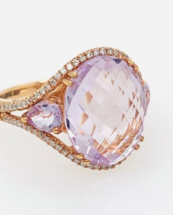 Rose Gold Pink Amethyst and Diamond Ring