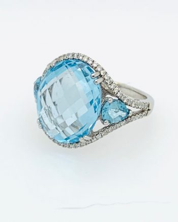 9ct White Gold, Blue Topaz and Diamond ring