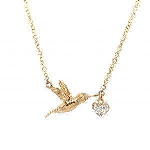 Gold Bird Necklace   G Mantella Jewellers London