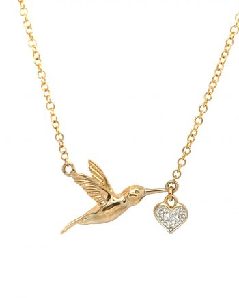 9ct Gold Bird with a Diamond Heart necklace