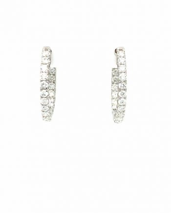 18ct White Gold with Diamond hoop earrings