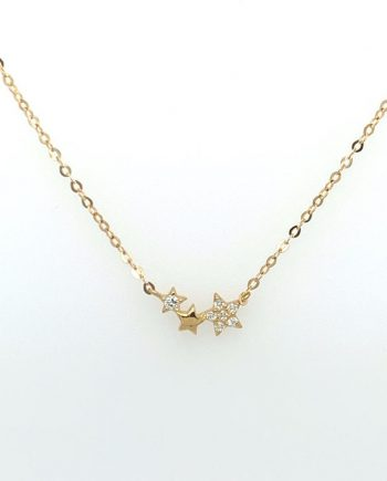 9ct Gold CZ three star necklace