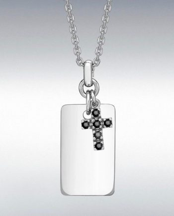 Sterling Silver Dog Tag with a Black Sapphire set cross