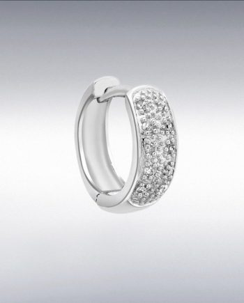 9ct White Gold pave set Diamond earring