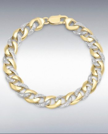 9ct Yellow Gold Diamond curb bracelet