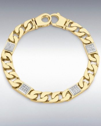 9ct Yellow Gold Diamond men's square link bracelet