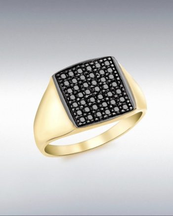 9ct Yellow Gold Pave Set Black Diamond Ring