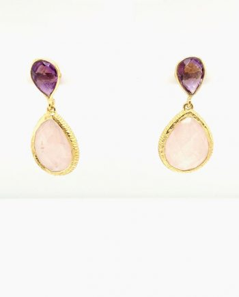 Silver gold plated, Amethyst and Rose Quartz drop earrings