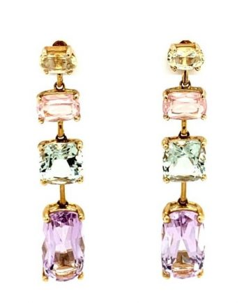 9ct Yellow Gold Drop earrings with Sapphires