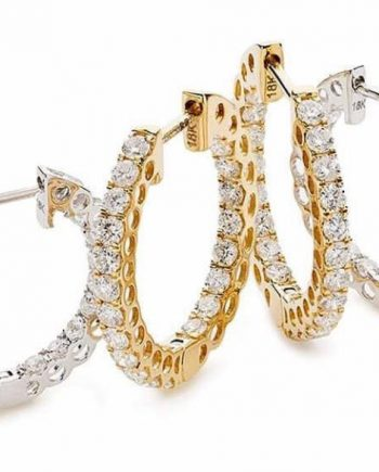 18ct Gold Diamond set hoop earrings