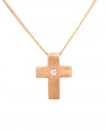 14ct Rose Gold chain with cross