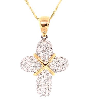 18ct Yellow Gold Chain with Diamond encrusted Cross
