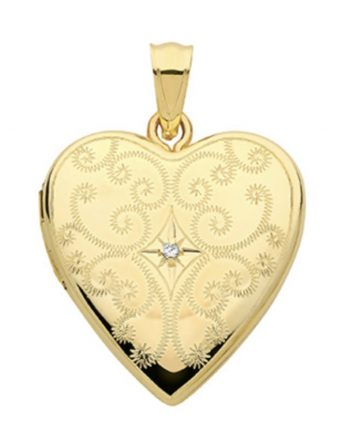 9ct engraved heart locket with diamond