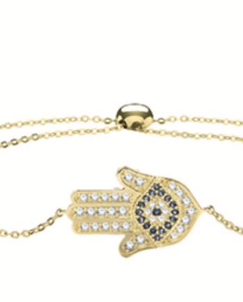 9ct Gold White and Blue CZ Hamsa Bracelet