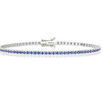 Sapphire and White Gold Tennis Bracelet