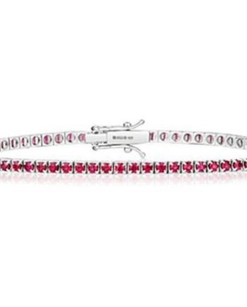 Ruby and White Gold Tennis Bracelet